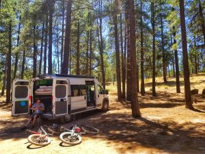Our home on wheels, biking in Flagstaff, AZ